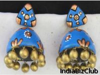 Blue Triangle Floral Terracotta Jhumkas