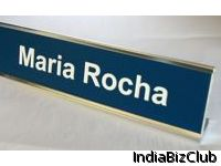 Plastic Desk Name Plate With Metal Holder
