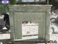 Chinese Mongolian Green Marble Fireplace