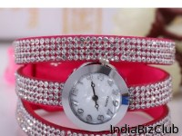 Braided Leather Watch With Full Diamond