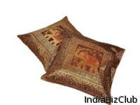 Golden Brown Jacquard 2 Pc Cushion Covers Set 809