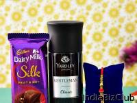 Beautiful Rakhi With Deo And Chocolate For Brother