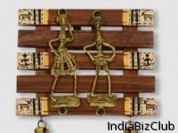 Dhokra And Warli Handpainted Wall Hanging Brown