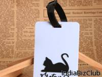 Cat Blue PVC Luggage Tag