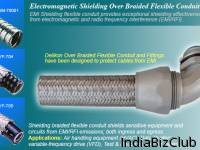 Screen Overbraided Flexible Metal Conduit For Industry Control Wiring Typically Used For Industry Control Systems Machineries And Petrochemical Industrial Cable Protection 1 4 4 Trade Size EMI RFI Shielding Resists Hot Metal Splashes Abrasion Resista