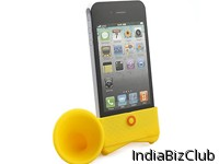 Unique Silicone Horn Stand Holder Amplifier Speaker For IPhone 4 4S With Packing Yellow