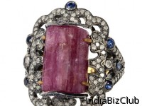 Antique Gemstone Ring With Pink Tourmaline Blue Sapphire