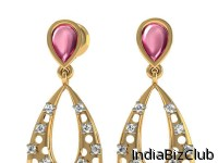 14K GOLD DANGLERS WITH ADORNMENT OF DIAMOND ROHDOLITE