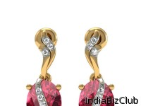 14K GOLD EARRINGS WITH ADORNMENT OF DIAMOND ROHDOLILE