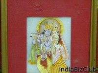 Krishna And Radha Fully Framed Oil On Mable