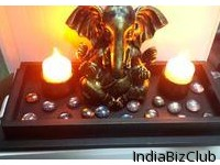 Fiber Ganesh With Candal Stone