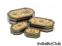 Wooden Miniature Painted Four Boxes Set