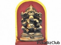 Ganesh Copper Colour With Red Stand In Wood