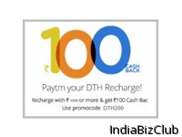 Rs 100 Cashback On All DTH Recharges At Paytm