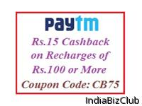 Rs 15 Cashback On Min Recharges Of Rs 100 Valid For 5 Times Per User At Paytm