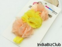 Beautiful Diamond Embellished Yellow And Orange Floral Headband For Baby Girls