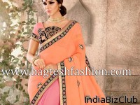 Light Orange And Pink Faux Georgette Saree