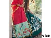 Traditional Motif Embroidered Panel Linen Festive Dupatta