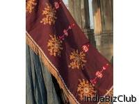 Wine Flower Bunch Embroidered Festive Dupatta