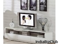 Contemporary Style Marble Top TV Cabinet Stand Glossy White