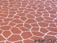 Stenciled Concrete Flooring Wall