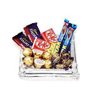 Silver Tray with Chocolates with Rakhi