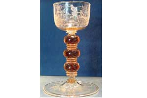 Engraved Crystal Glass Goblet