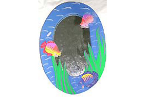 Tropical Fish Wooden Mirror Wall Supply