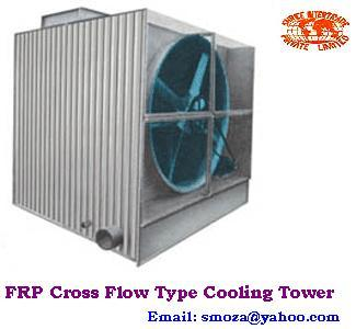 FRP CROSS FLOW TYPE COOLING TOWER FOR PLASTICS, CHEMICALS, METAL PROCESSING, PAPER INDUCTRIES,ETC.,