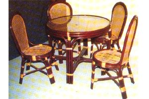Cane Dining Table & Chairs