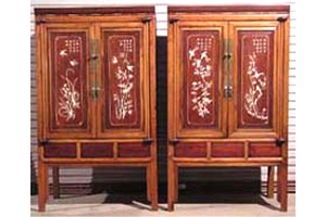 Pair Rosewood Marriage Cabinet with Cowry Inlaid Cabinet(150 years old, Very Rare!!)