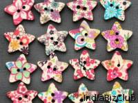 Star Shaped Printed Buttons